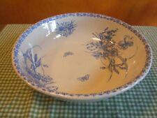 Ancien plat, bassin Boch Frère marque ANÉMONE-BF décor bleu ,fleurs, papillons