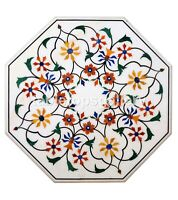 """24"""" White Marble Coffee Table Top Precious Floral Marquetry Inlay Decorate W259"""