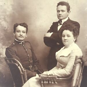 Vintage 1800's Cabinet Card Photo Posed Military Man Sibilings Antique