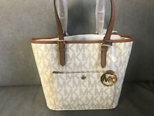 Michael Kors Vanilla Logo Jet Set Medium Snap Pocket Tote Bag NEW