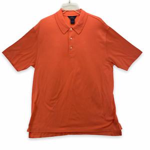 Brooks Brothers Golf Mens Short Sleeve Polo Shirt Orange Mercerized Cotton Large