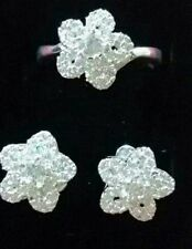 Mariellasgem - NEW ENCHANTED  DIAMOND FLOWER EARRING AND RING  in FINE SILVER