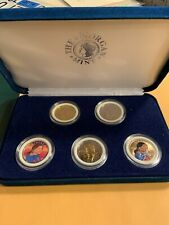 Sacagawes 2000 5 $ $1.00 Mint Coin Set Morgan Mint-1 Silver,2 Colored,2 Gold Pld