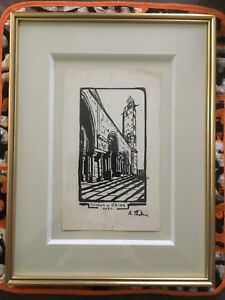 AUGUSTE CHABAUD DESSIN ENCRE DE CHINE CATHEDRALE SAINT GILLES GARD PROVENCE