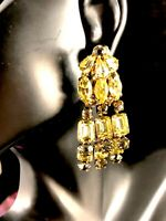 FABULOUS VINTAGE GOLD-TONE CITRINE & GREY RHINESTONE TRIPLE DANGLE CLIP EARRINGS
