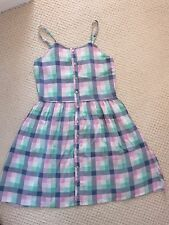 YD Young Dimension Pink,Green,Blue Checked Cotton Sleeveless Dress AGE 11-12