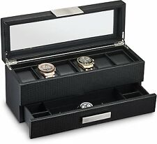 Watch Box with Valet Drawer for Men - 6 Slot Luxury Watch Case Display Organizer