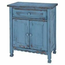Alaterre Furniture Country Cottage Accent Cabinet in Blue Antique Finish