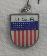 Vintage REU Silver Plated/Enamel U.S.A. Flag Bracelet Charm - New Old Stock