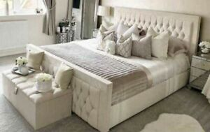 Cream Soft Plush Velvet Bed Frame with Mattress and Matching Blanket Storage Box