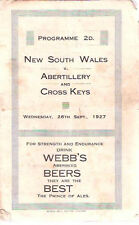 NSW AUSTRALIA 1927 RUGBY TOUR PROGRAMM v ABERTILLERY & CROSS KEYS 28th Sep