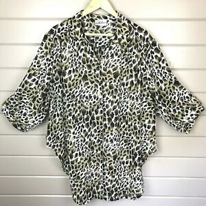 Animal Print UK 22 Sheer Over Blouse 3/4 Sleeves Women's Classic Collection