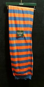Ralph Lauren Throw Blanket Red Navy Blue Striped Knit Rugby 100% Cotton 54x72