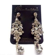 "2.6"" Long Silver Tone Clear Abstract Rhinestone Chandelier Earrings"