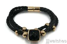 Stainless Steel Jewelry 3 Row Black Leather Cubic Zirconia Bangle BK053RGD-1