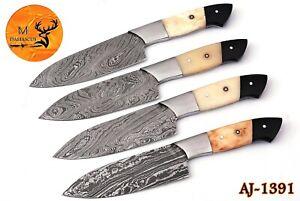 FOUR DAMASCUS STEEL STEAK CHEF KNIVES WITH BONE & HORN HANDLE AJ 1391