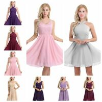 Women's V Neck Chiffon Lace Short Prom Party Cocktail Bridesmaid Wedding Dress