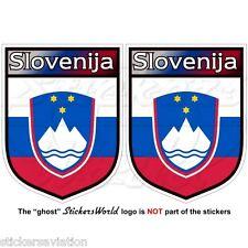 """SLOVENIA Scudi Slovenija Sloveno Adesivi in Vinile per Auto 75mm(3"""") Stickers x2"""