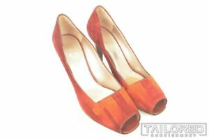 SALVATORE FERRAGAMO Solid Red Womens Peep Toe Heels Dress Shoes - 10 B