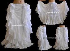 White Chiffon Tribal 4 Tier Gypsy Skirt 16 Yard Skirt Belly Dance Costumes Jupe