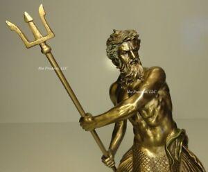 "11.5"" POSEIDON GOD OF SEA WIELDING TRIDENT MYTHOLOGY Statue Bronze Finish"