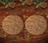 "2 Primitive Antique Vtg Style Braided Cotton Candle Mat 4"" Trivet Coasters #57"