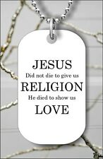 JESUS CHRIST HOLY SON OF GOD LOVE QUOTE DOG TAG NECKLACE FREE CHAIN -aij8Z
