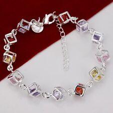 Damen Armband mit farbigen Steinen 925 Sterling Silber plattiert Schmuck