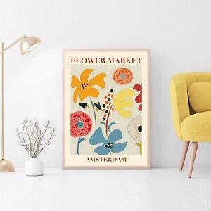 Flower Market Amsterdam Poster, Florist Gift, Vintage Art Poster Print