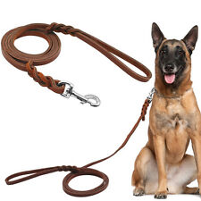 Brown Braided Thick Real Leather Dog Leads for Training Walking Pet Leash 3 Size