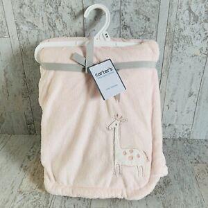 NWT Carter's Pink GIRAFFE Blanket Infant Soft 30 X 40