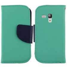 AT&T Samsung Galaxy S3 MINI Premium Leather 2 Tone Wallet Case Pouch Flip Cover