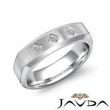 Princess 3 Stone Diamond Mens Half Wedding Band 14k White Gold 6mm Ring 0.20Ct