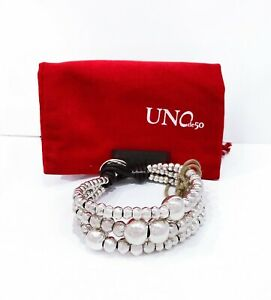 New Uno De 50 Silver Tone Magnetized Chunky Beaded Toggle Bracelet