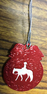 New Christmas Ornament Engraved Red Metal w/Western Pleasure Horse Cutout Cord