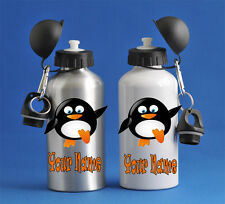 Funny Penguin Kids Water Sports Bottle Silver Or White School PE Gym Great Gift!