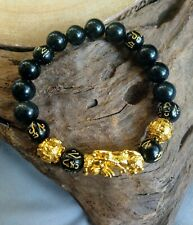 pixiu Bracelet Black Obsidian feng Shui for wealth and luck