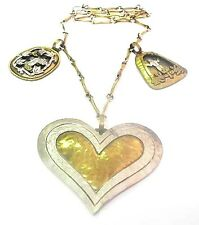 JEEP COLLINS Sterling Brass 2 SHADOWBOX 1 Heart NECKLACE Pendant Chain Big Rare