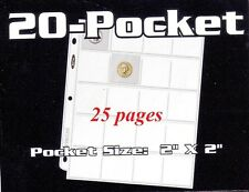 25 BCW 20 POCKET - HOLDS  2x2 COIN HOLDERS COINHOLDERS