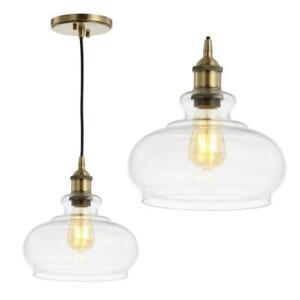 JONATHAN Y Wyatt 9.5 in. 1-Light Brass Gold Adjustable Drop LED Pendant