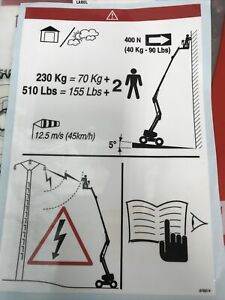 MANITOU BOOM LIFT CHERRYPICKER SAFETY SIGN LABLE STICKER 676814