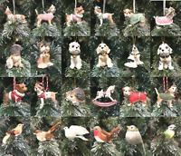 Gisela Graham Animal Dog Bird Clip Hanging Christmas Tree Decorations Gift