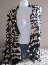 Arizona Jeans Black Tan Printed Fringe Hem L/S Knit Sweater Cardigan Casual M