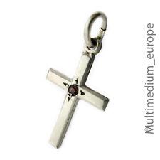Silber Kreuz Anhänger Stein granat farben silver cross pendant Charms