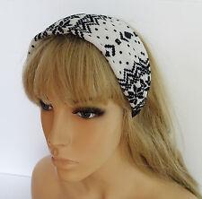 Magnifique large soft knit couvert bandeau cheveux bande de flocon de neige design monochrome