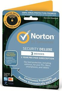 Norton Security & VPN 2021 3 Device PC/Mac Device Security - Delivery by Email