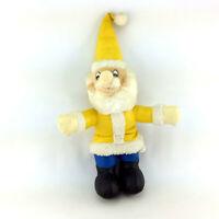 Vintage Plush Doll Dwarf Elf Gnome Santa Yellow Blue Vinyl Stuffed Animal Toy
