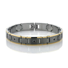 NEW MATTE FINISH TUNGSTEN BRACELET W/ GOLD IP AND NATURAL BLACK SPINEL GEMS