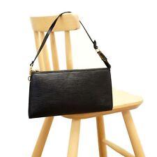 Authentic LOUIS VUITTON Epi Pochette Accessoires Black Bag Handbag Clutch Purse