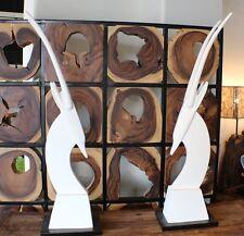 "Set of two 44"" H Smooth white ceramic gazelle head horns sculpture unique design"